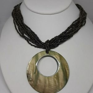 Vintage Beaded Necklace w/Shell Pendant